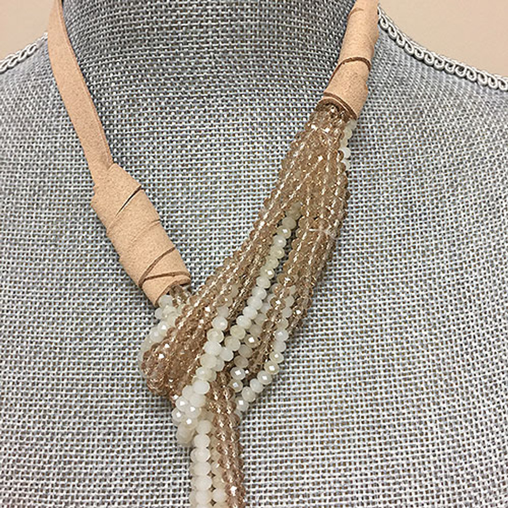 Champagne & Cream Crystal Bead Lariat Necklace