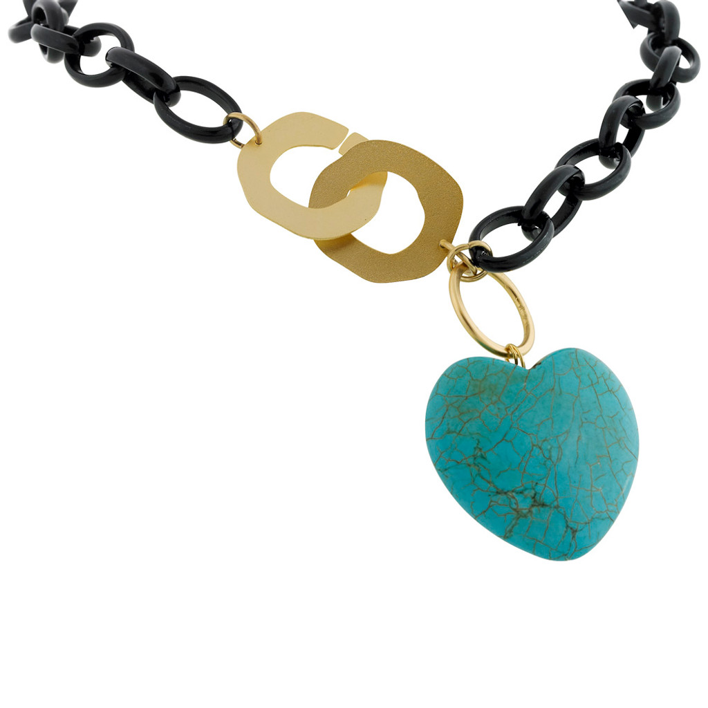 Heavy Linked Black Chain with Turquoise Heart