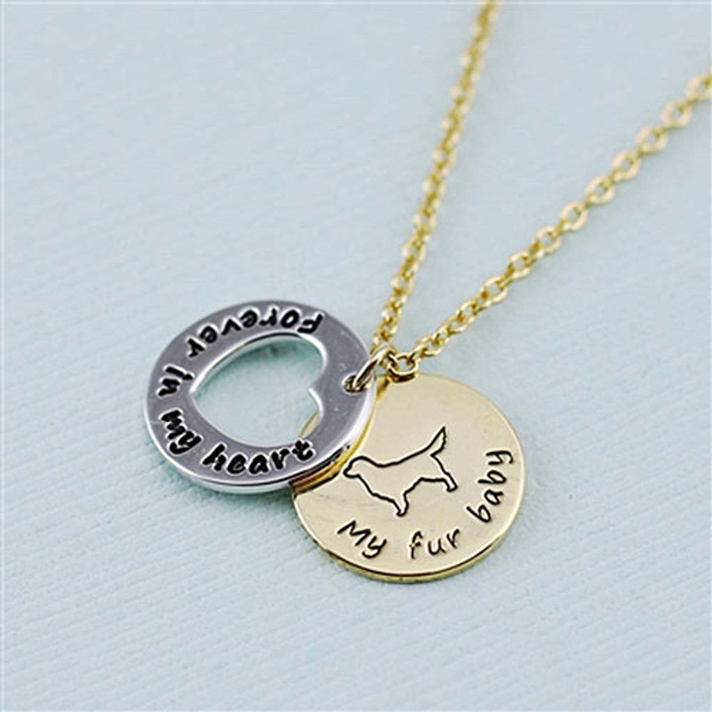 "Golden Retriever ""Fur Baby"" Forever in Our Hearts Necklaces"