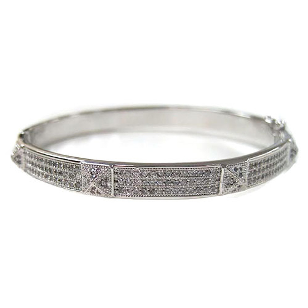 Silver Pave C.Z. Bracelet with Pyramid Details