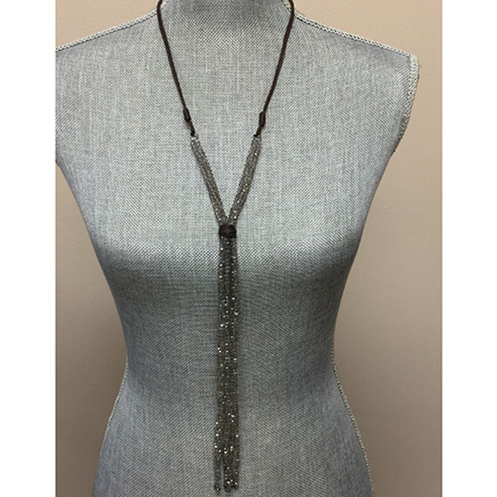 """Leather and Gray Crystal """"Y""""å Necklace"""