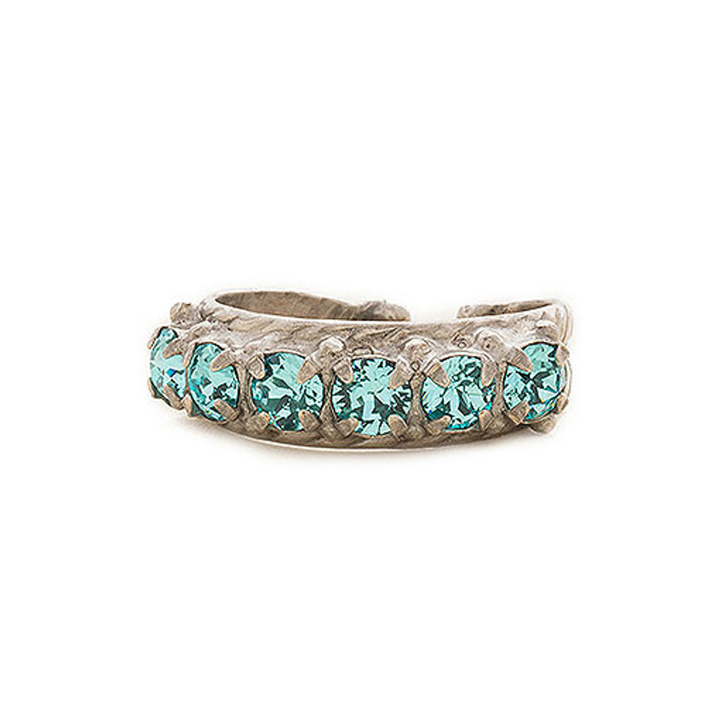 Sorrelli Aquamarine Crystal Band Ring