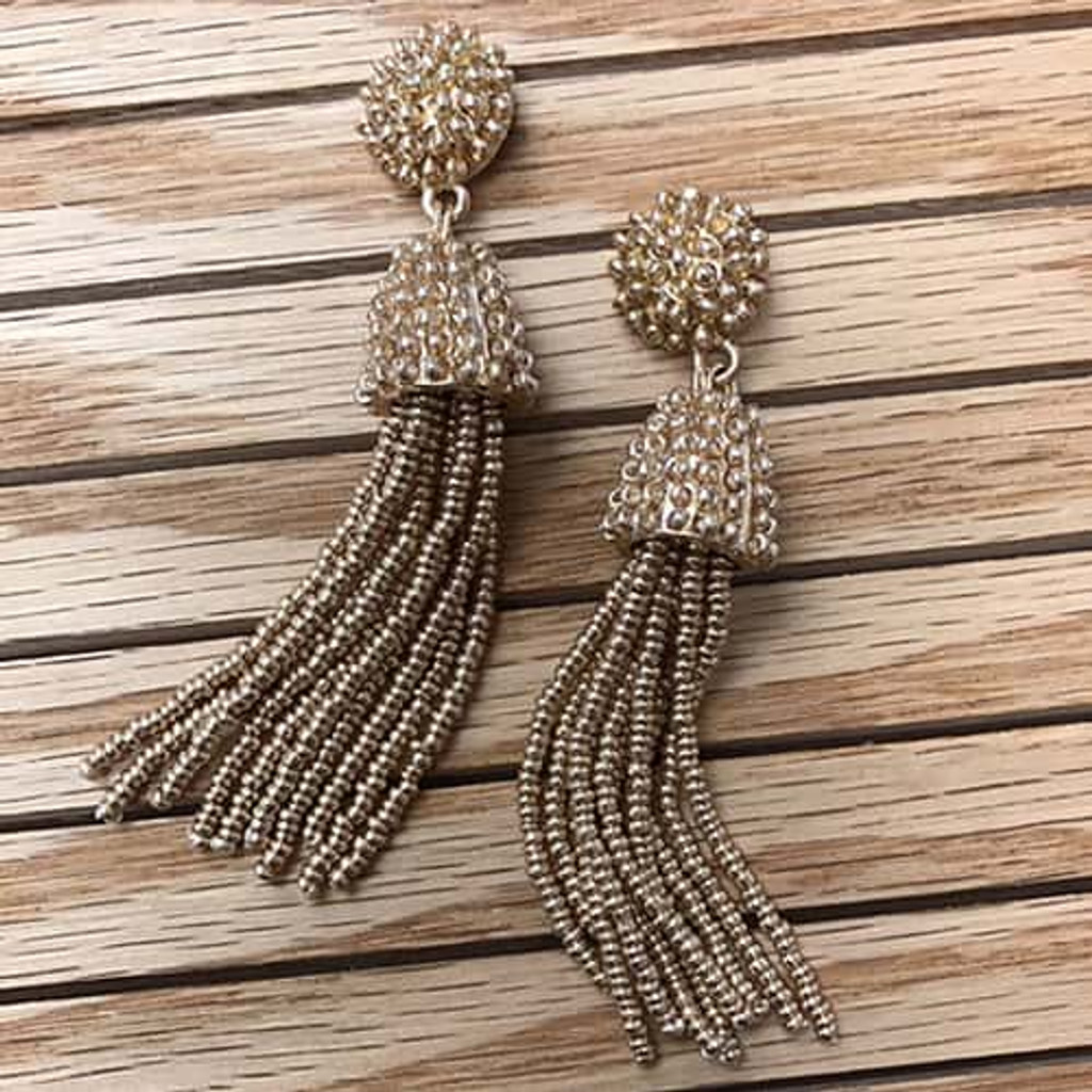 Gold Beaded Button & Tassel Earring