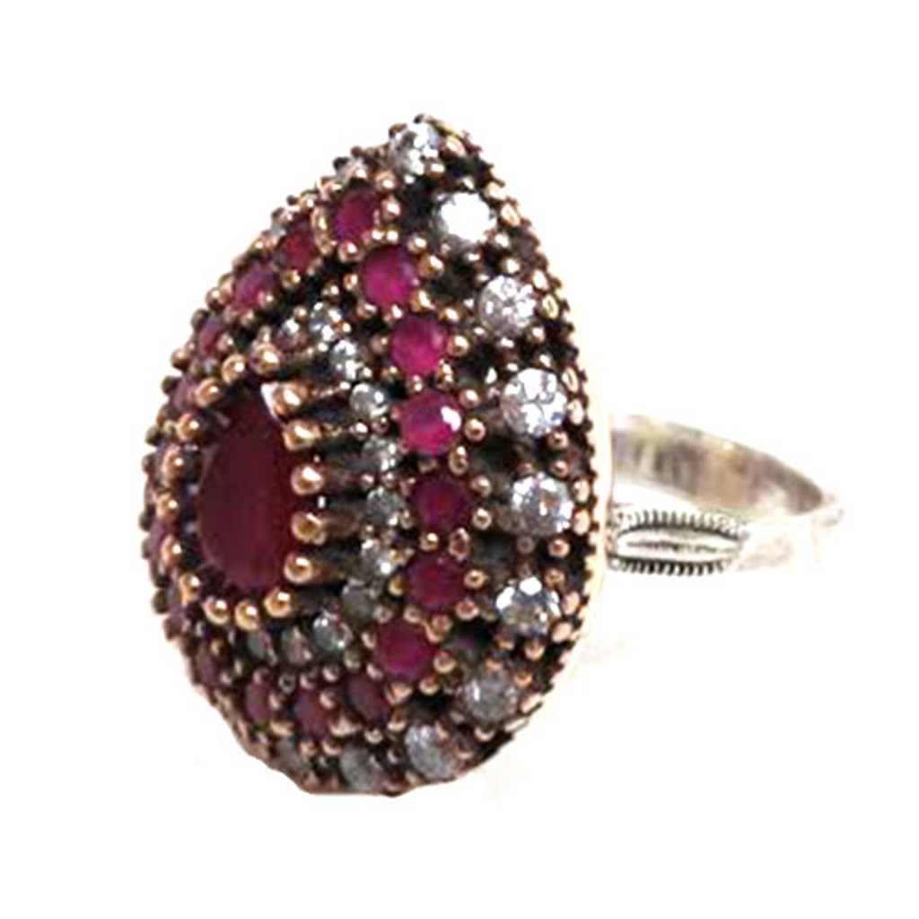 Turkish Ruby and C.Z. Teardrop Ring