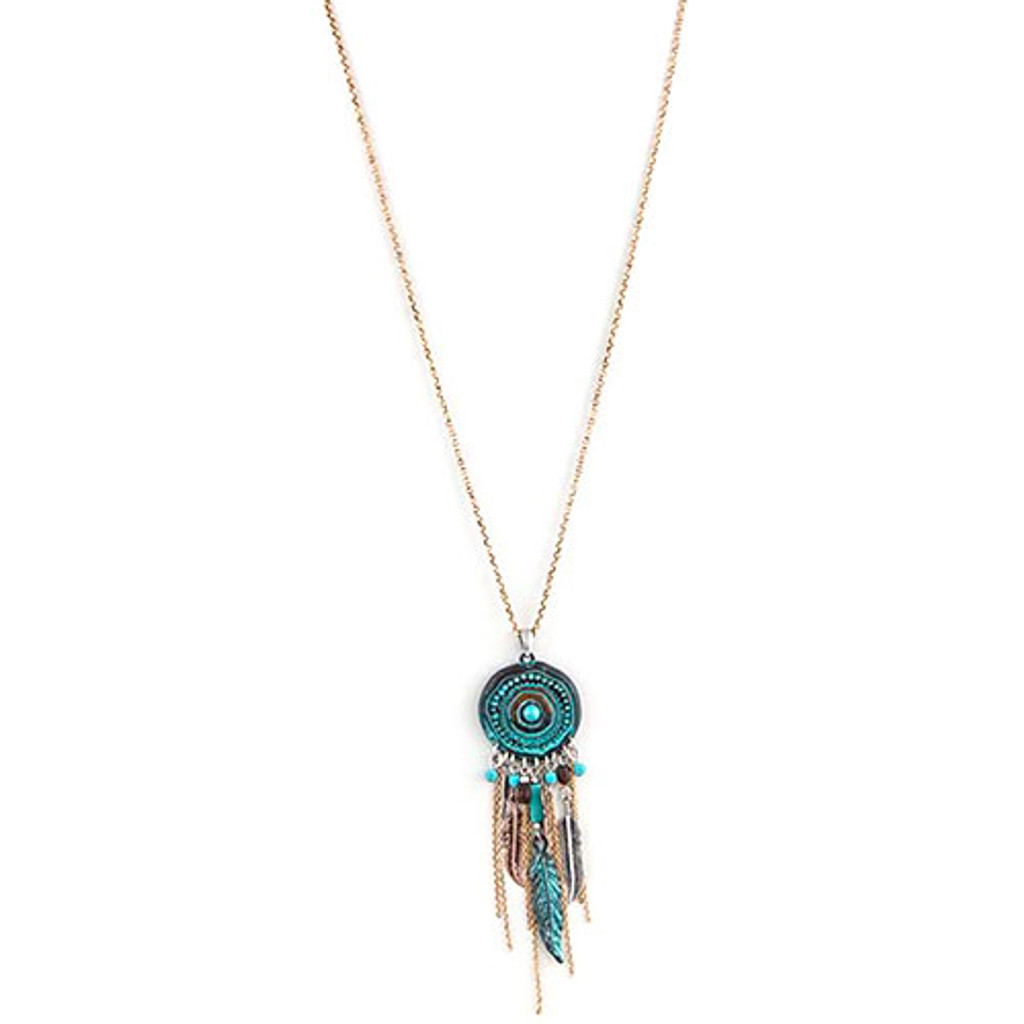 Tribal Aztec Circle Medallion Pendant with Fringe Charms