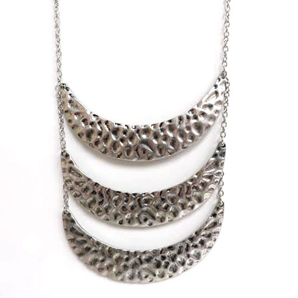 Tiered Silver Crescent Necklace