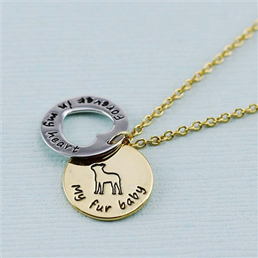 """Boston Terrier  """"Fur Baby"""" Forever in Our Hearts Necklaces"""