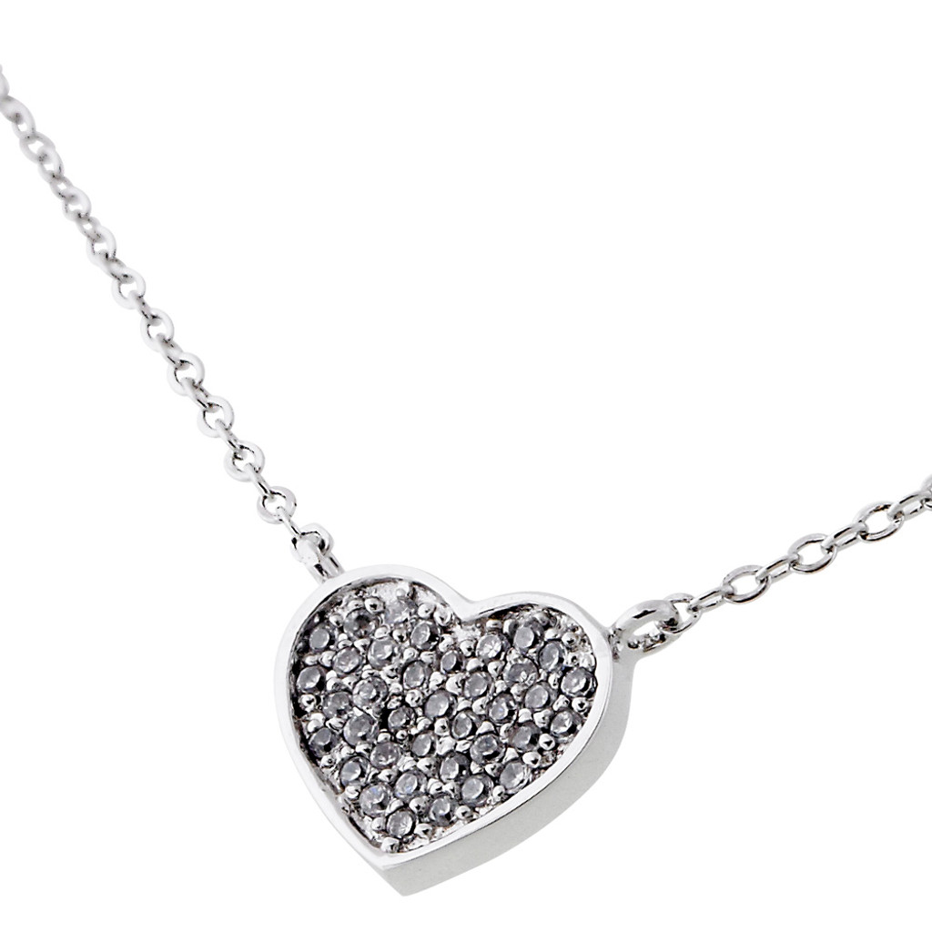 Micro Pave Cubic Zirconia Heart Necklace