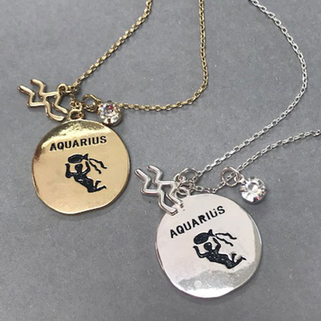 Three Charm Zodiac Necklace in Gold and Silver