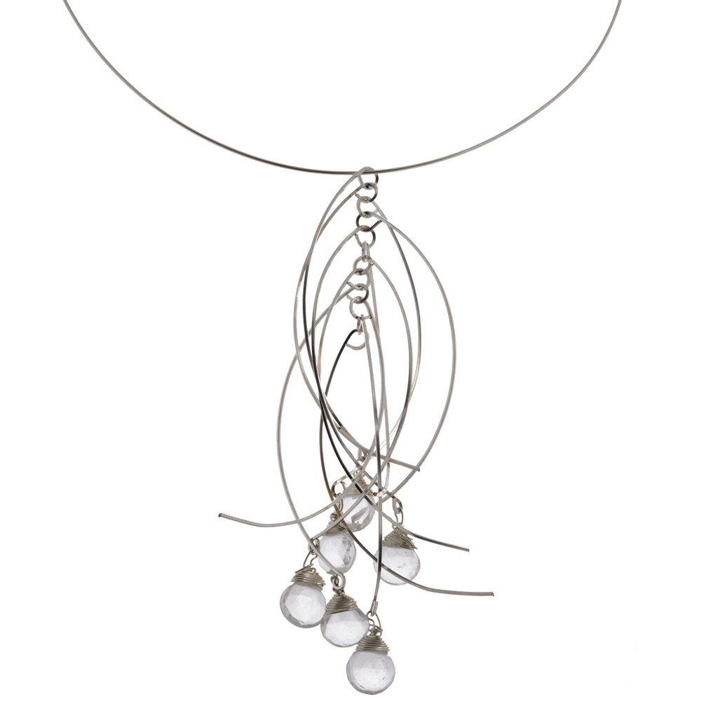 Zia's Silver Sticks and Clear Stones Short Necklace