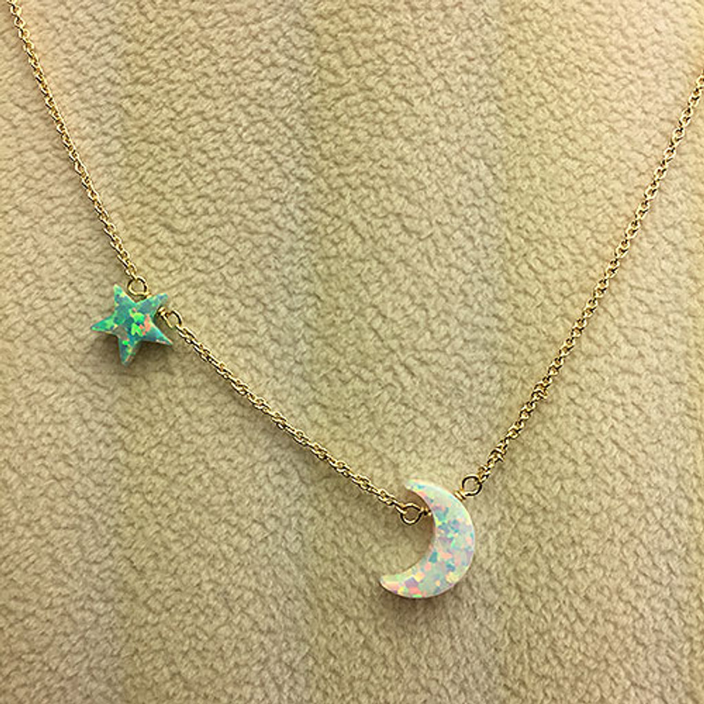 Star and Moon Opal Charm Chain