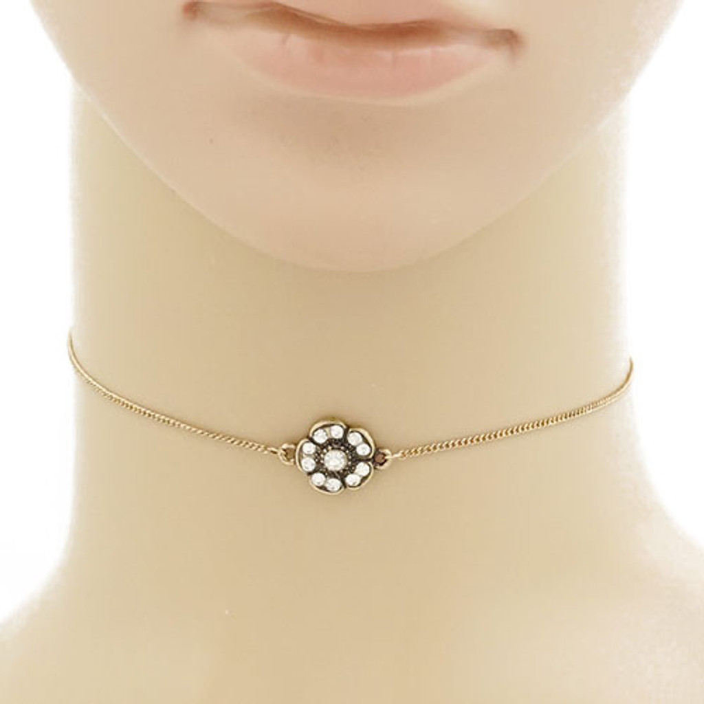 Antiqued Gold Boho Flower Choker