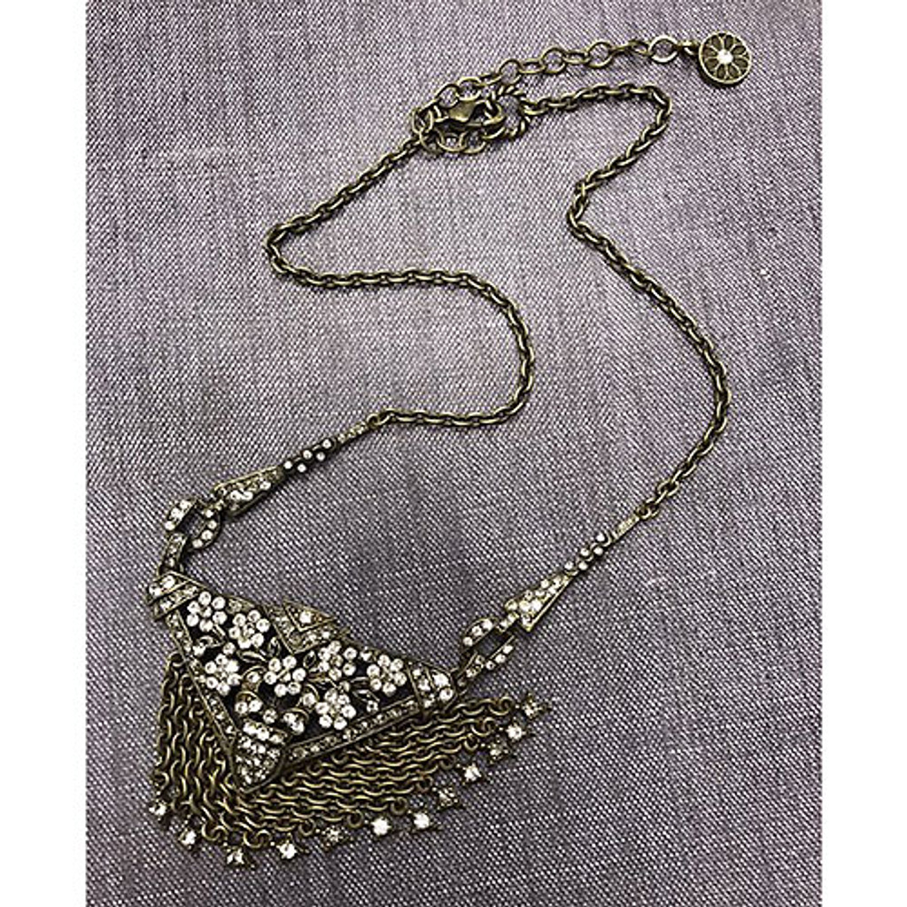 Gatsby Deco Flower-n-Fringe Necklace