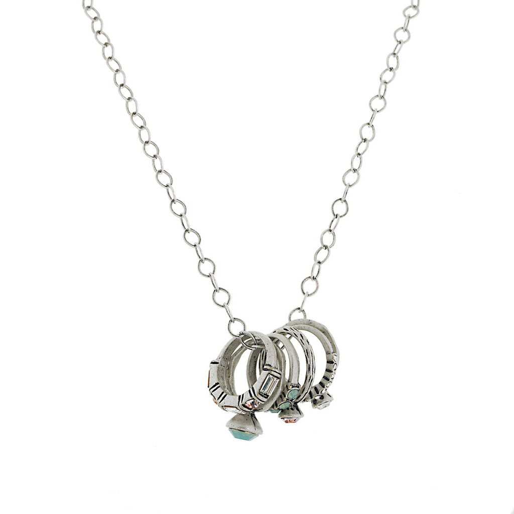 Stackable Silver Rings on a Necklace