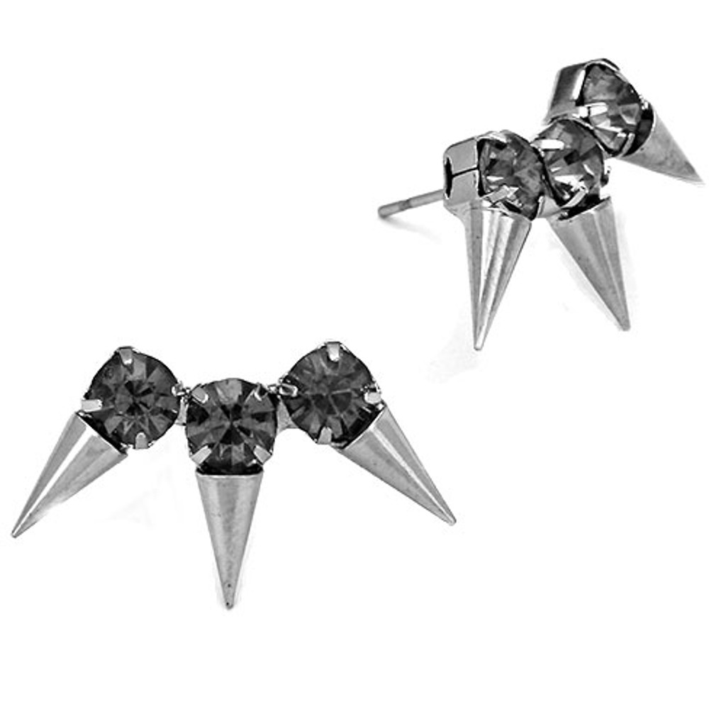 Black Diamond Triple Spike Trio Earring