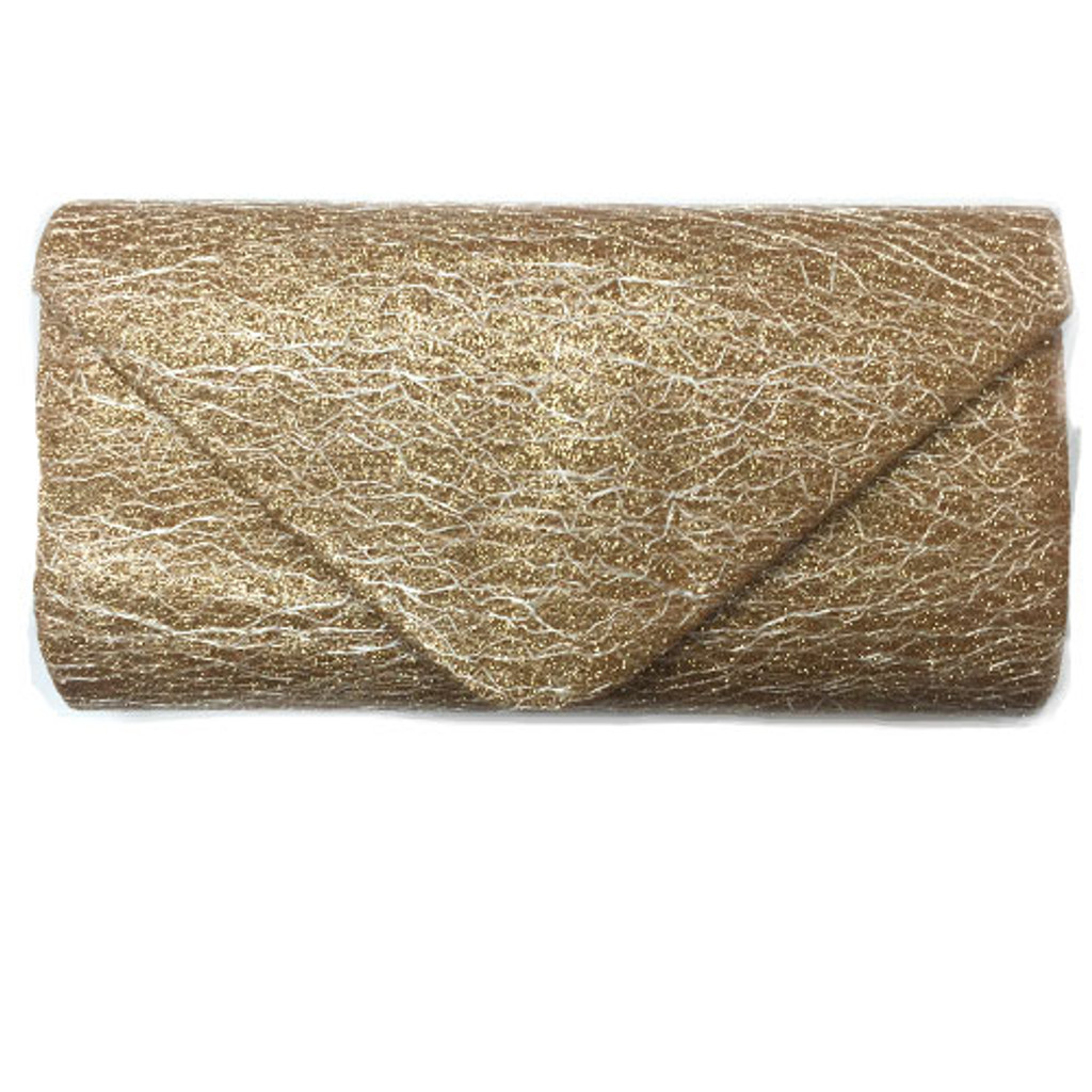 Champagne Gold Striated Lace Fabric Clutch