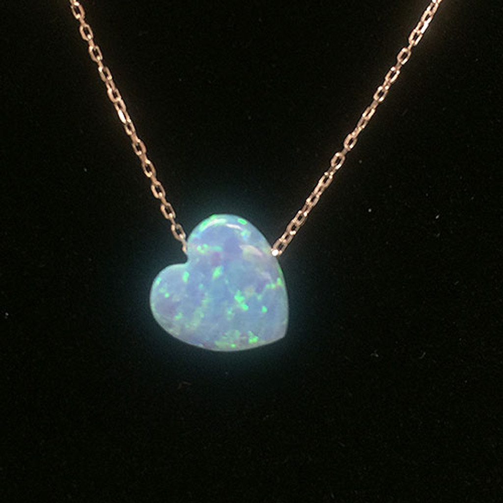 Light Blue Opal Heart on Sterling Chain