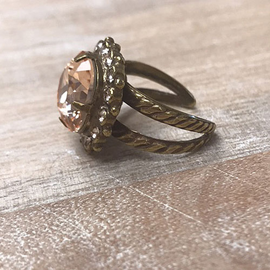 Sorrelli Ant. Gold & Apricot Crystal Ring