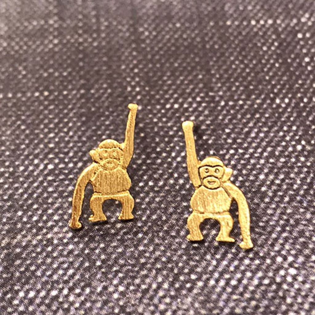 Hang in There, Baby Monkey Earrings in gold