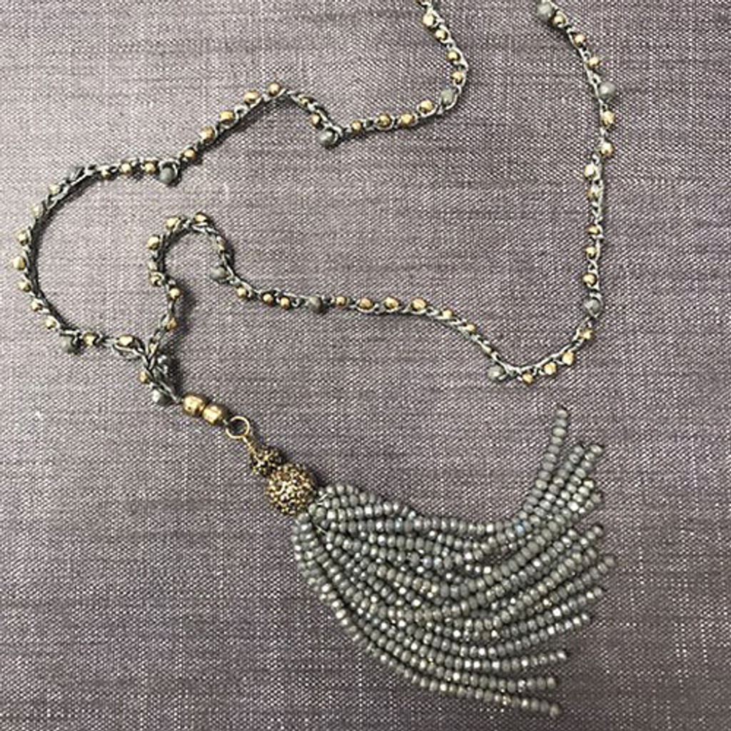 Crochet and Crystal Tassel Necklace