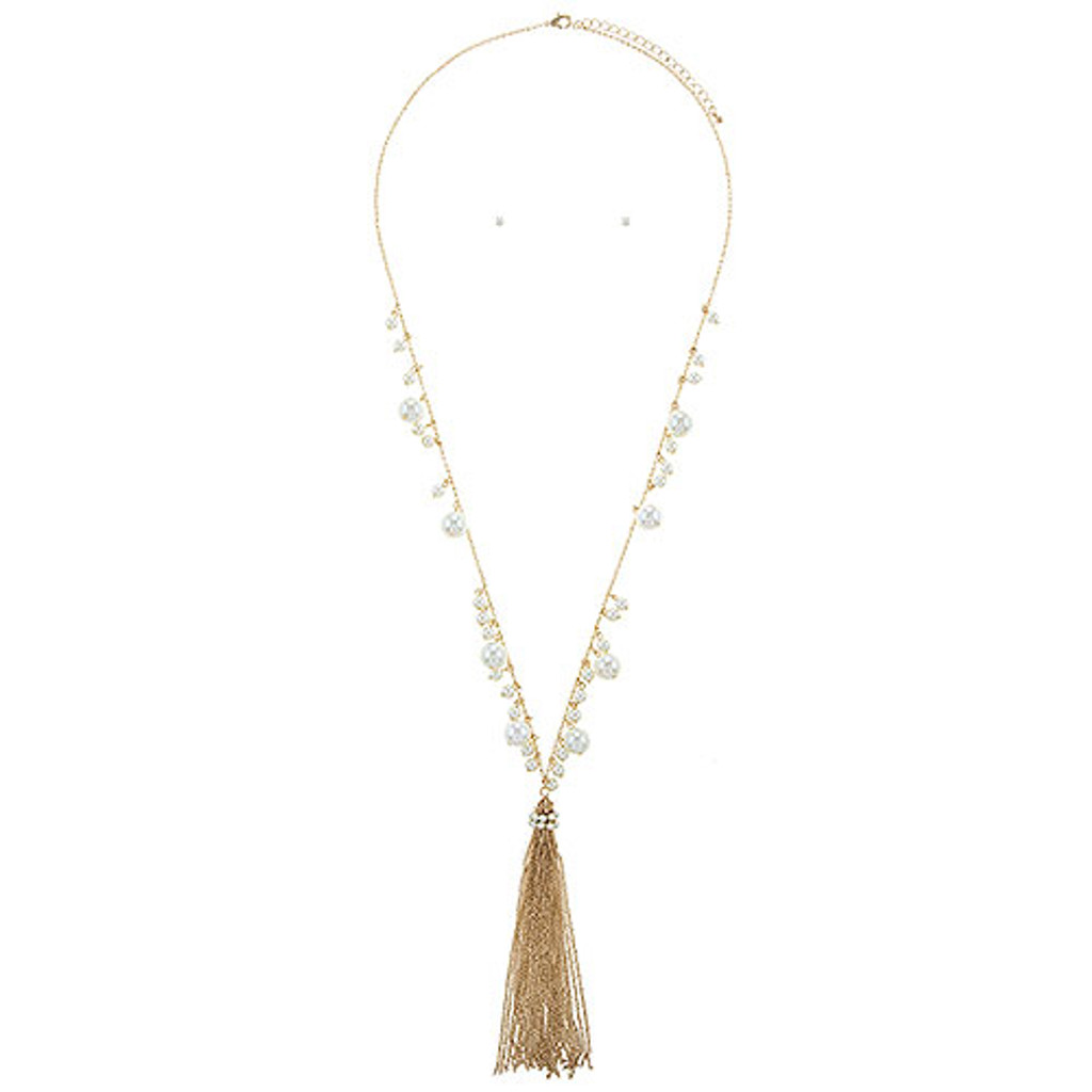 White or Gray Pearl Tassel Necklace