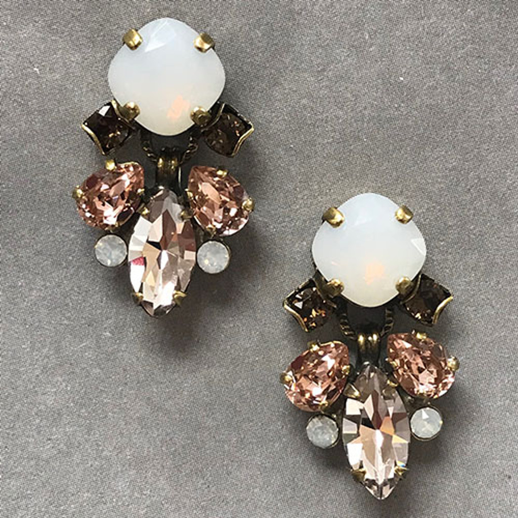 Sorrelli White Quartz & Shades of Pink Peony Earring