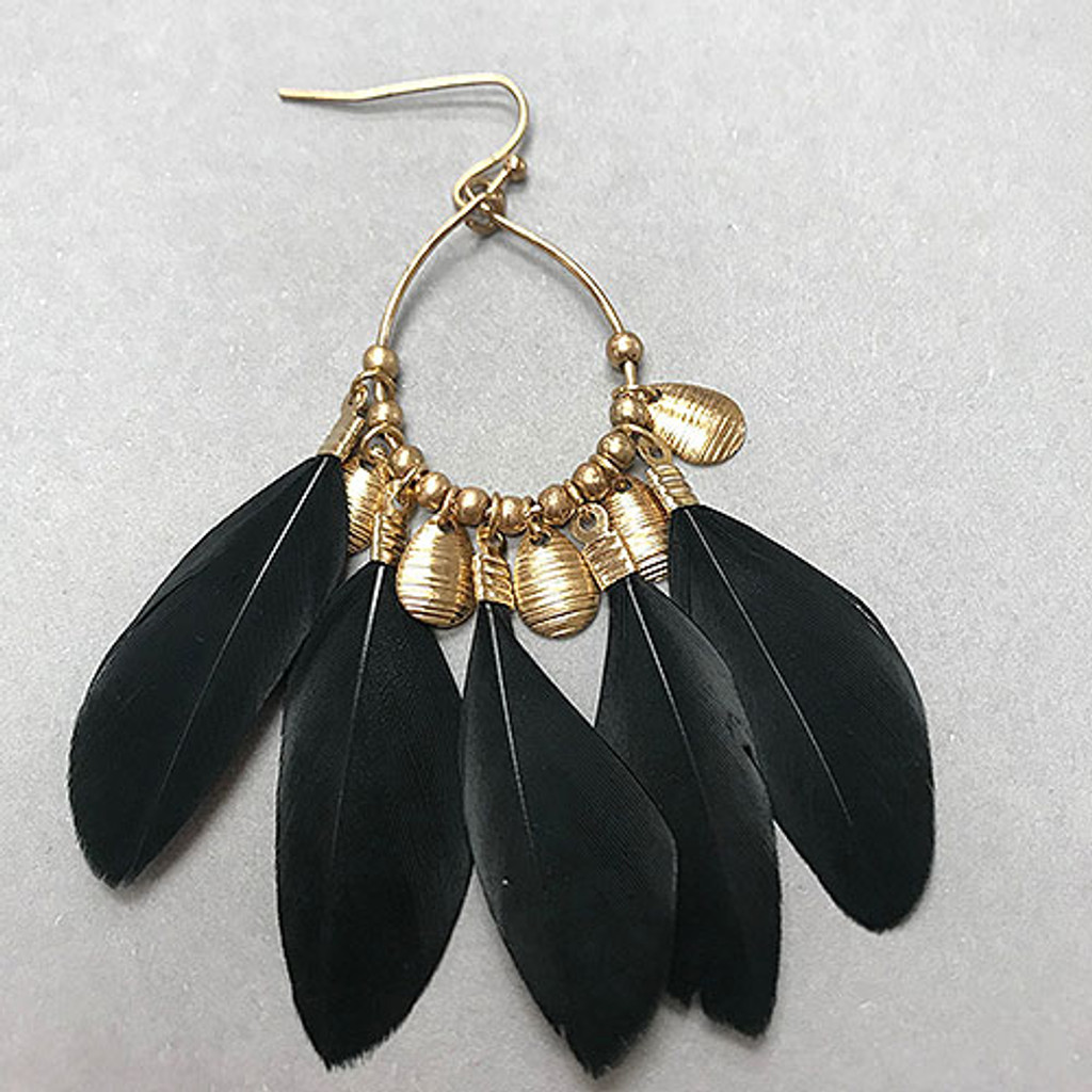 Multi-Feather Dangling Earring