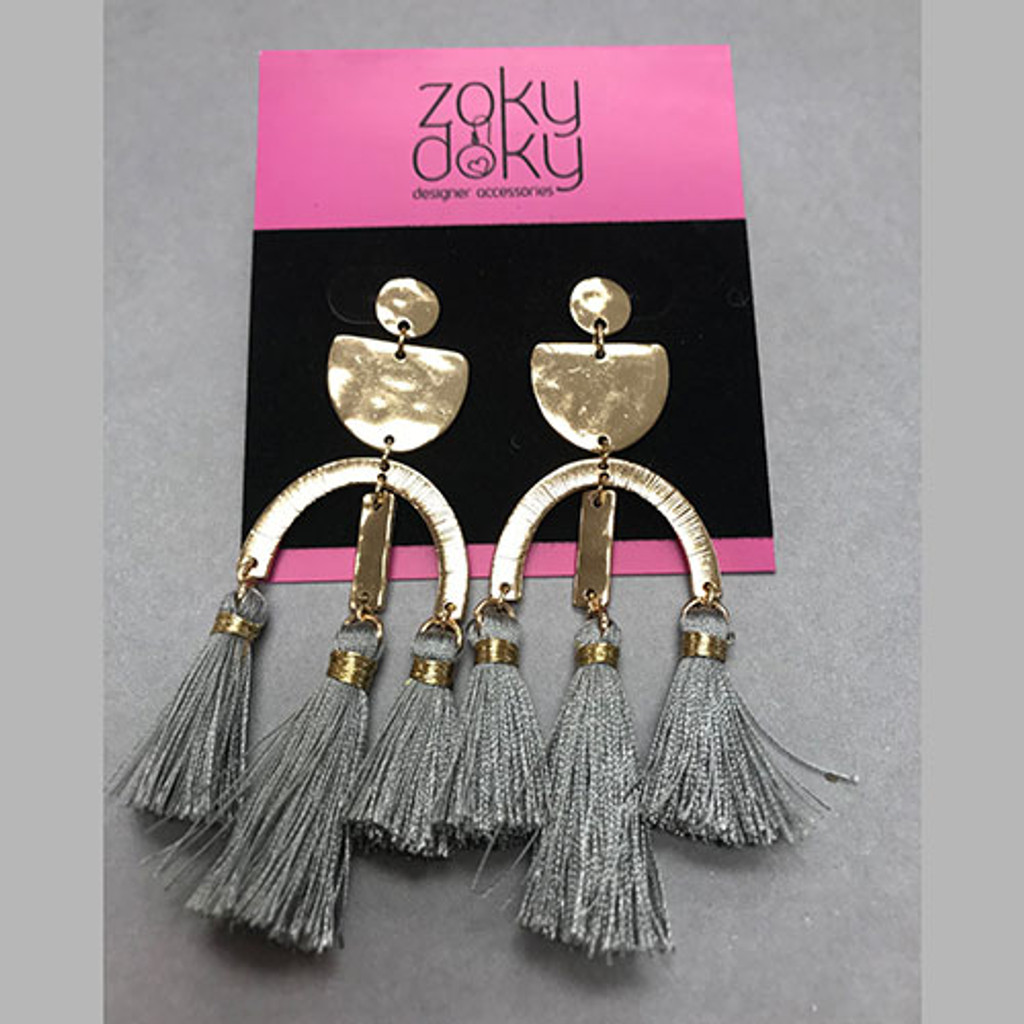 Hammered Shapes and Tassels EarringåÊ