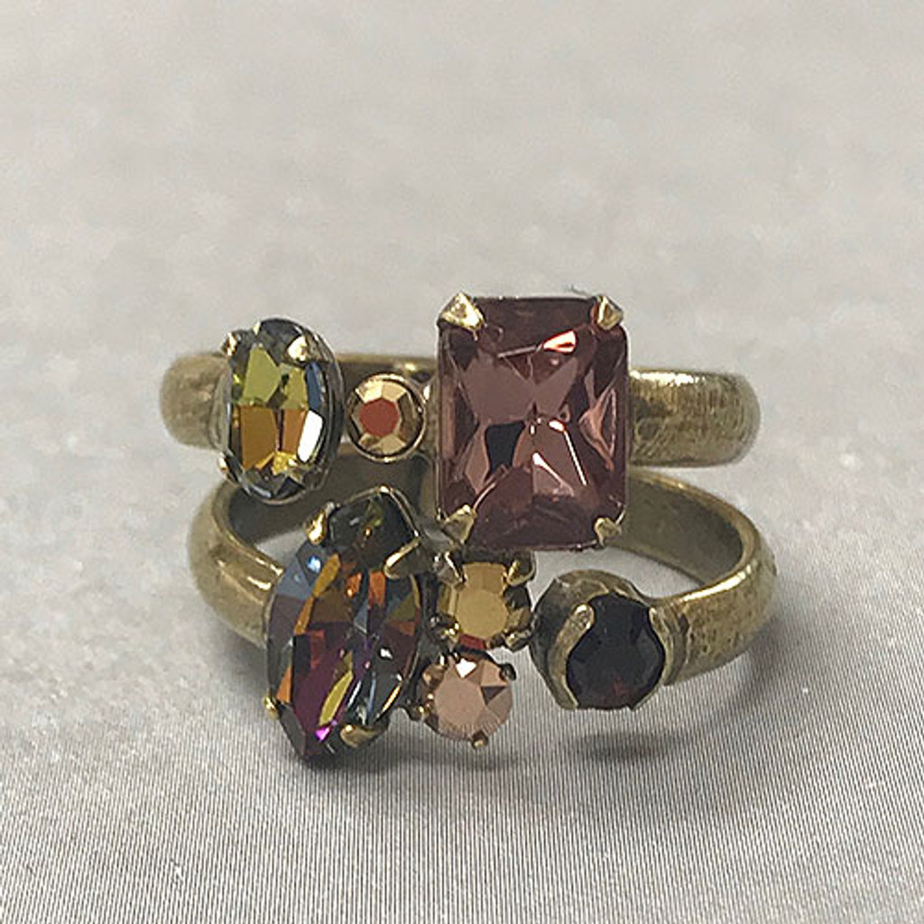 Double Band Iridescent Mahogany Rings