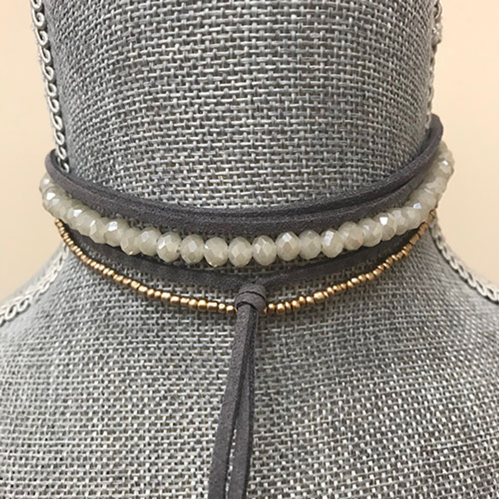 Gray/Taupe Quartz Suede Multi Layered Choker