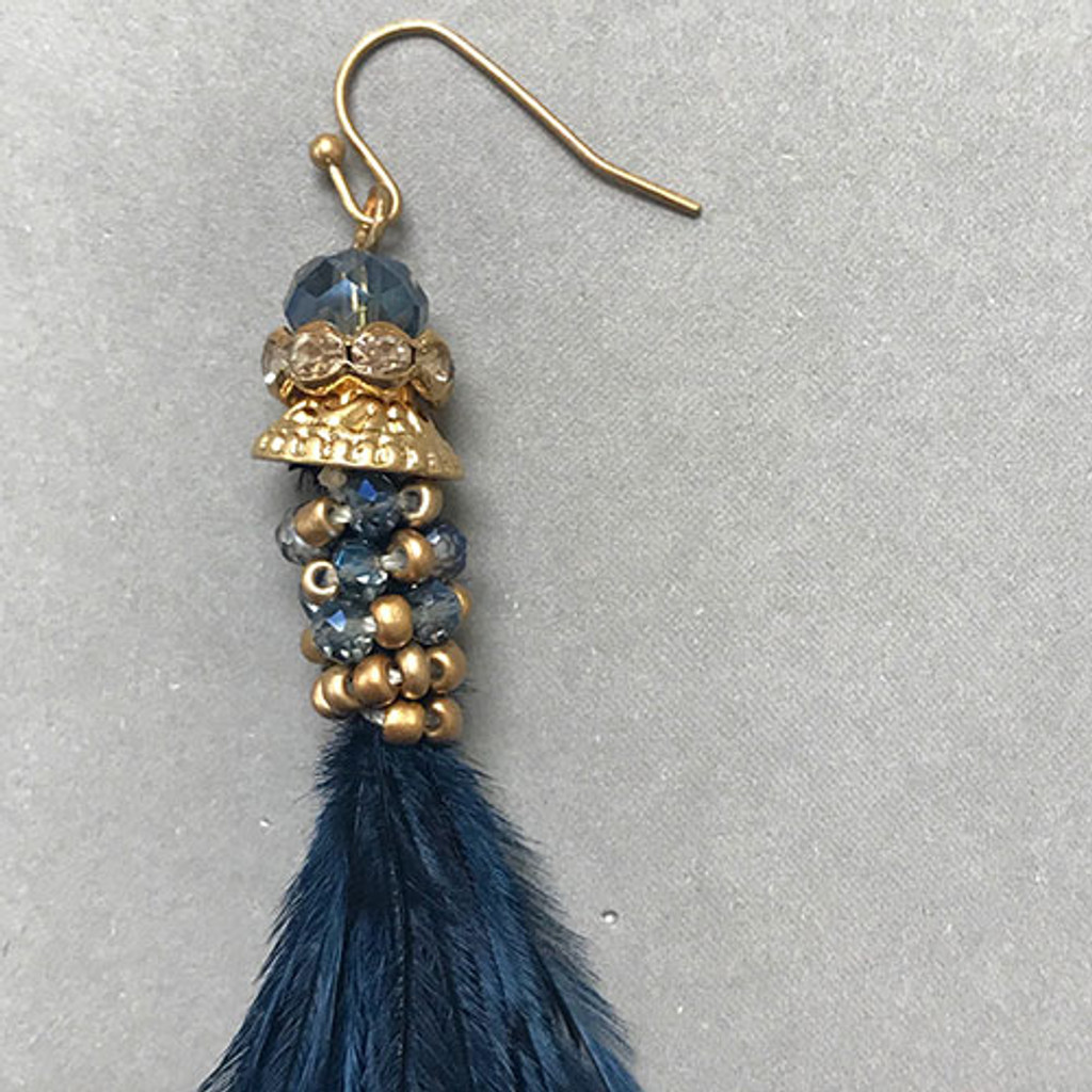 Navy Ostrich Feather with Crystals