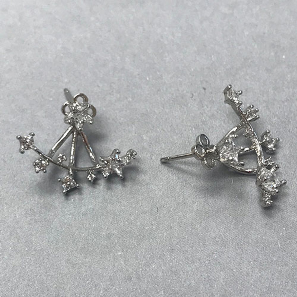 Over/Under Cubic Zirconia Star Earrings