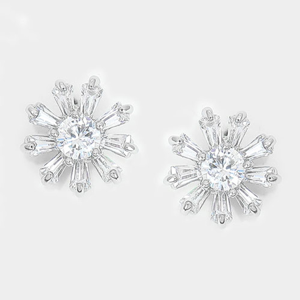 Cubic Zirconia North Star Earring Post