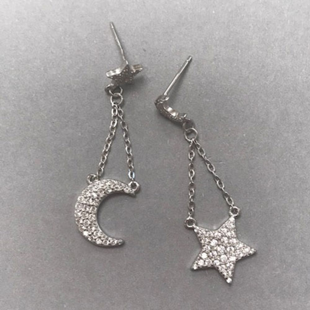 .925 Sterling Silver Vermeil Star & Moon Cubic Zirconia Dangles
