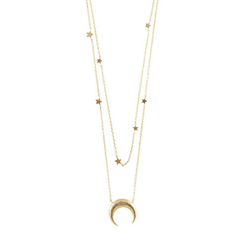 Crescent & Constellation Layered Necklaces
