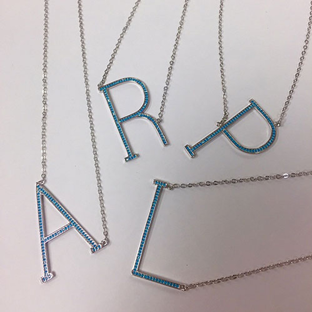 Turquoise Beaded Large Sideways Initial necklace