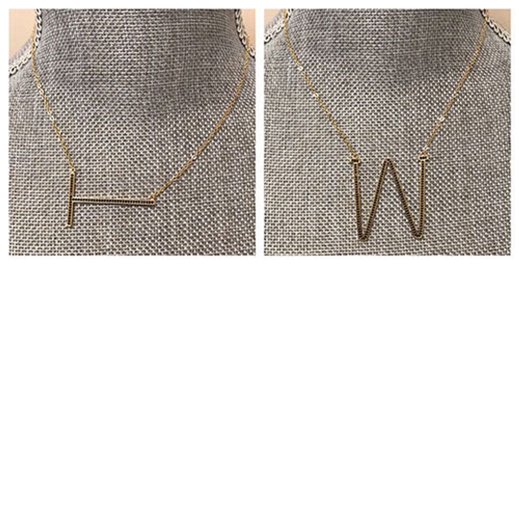 Jet Black Beaded Large Sideways Initial necklace