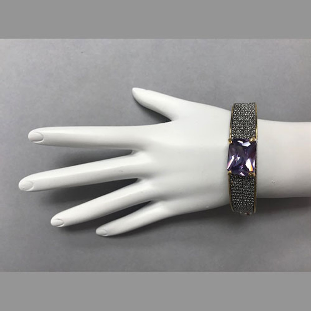 Majestic Rectangular Crystal Two Tone Bracelet