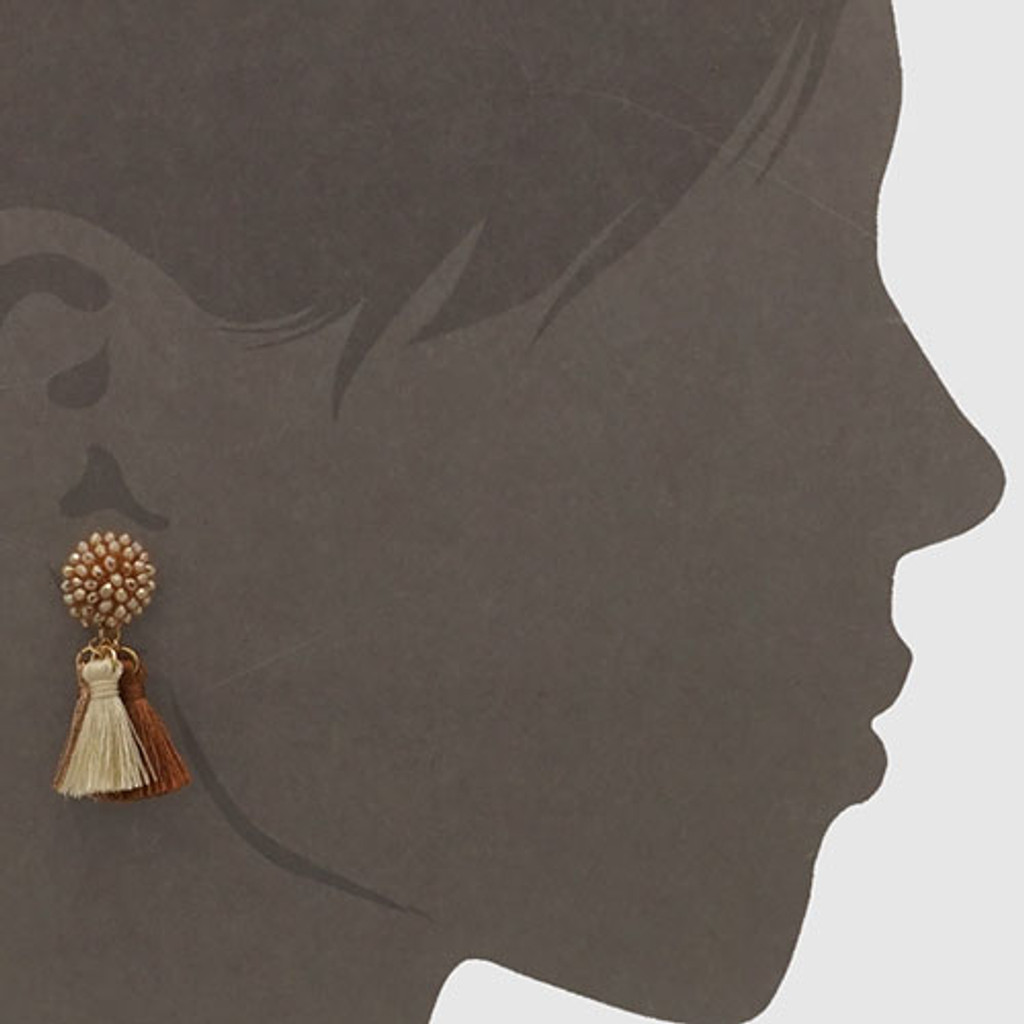 Beaded Crystal Button and Triple Tassel Earring