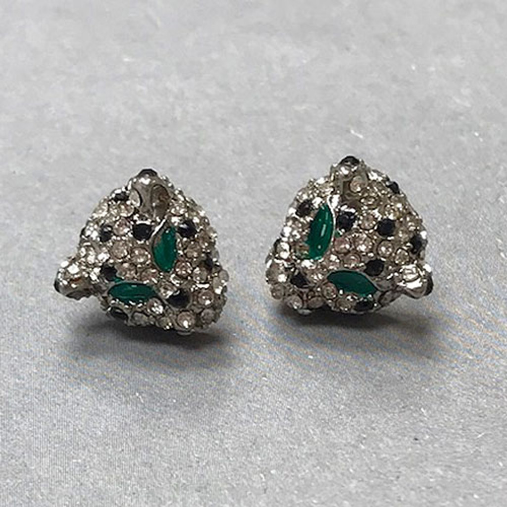 Cubic Zirconia Little Panther Stud Earrings