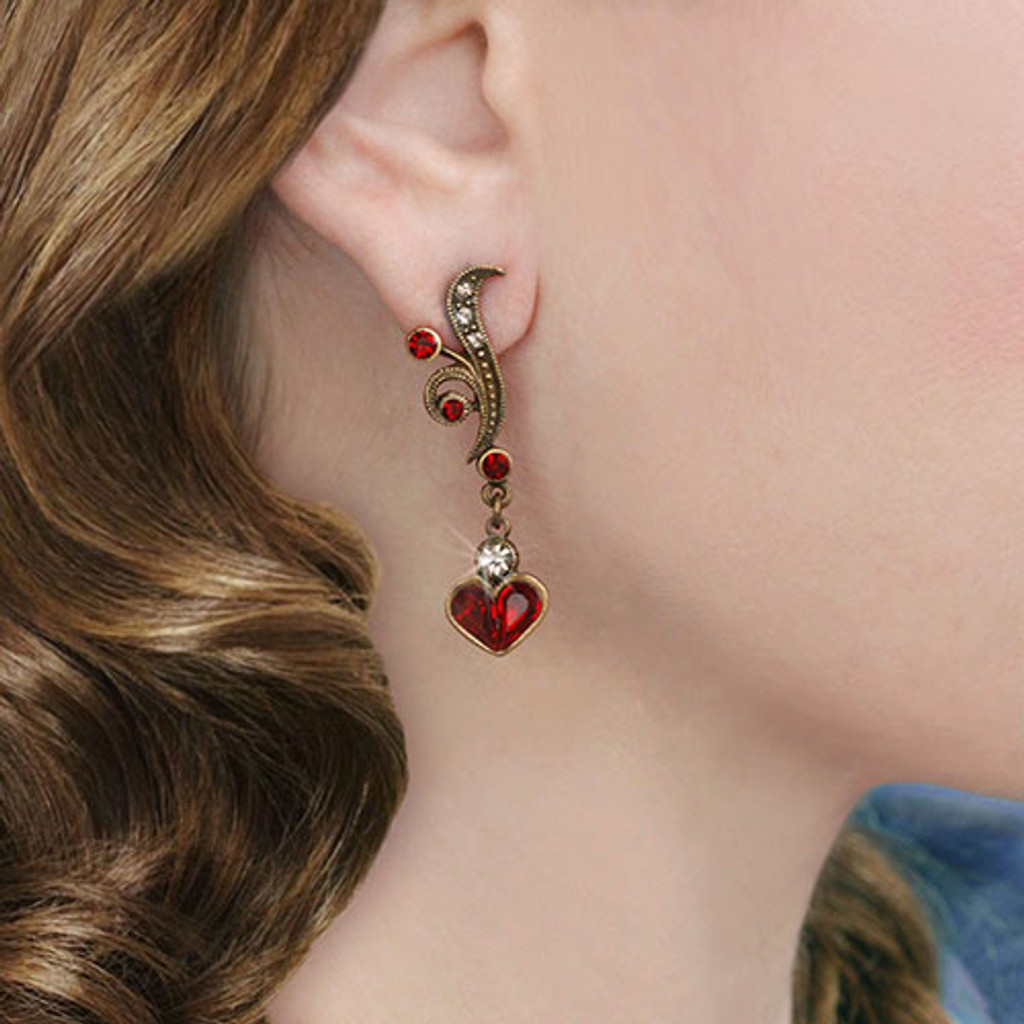 Garnet Dangling Heart Earring