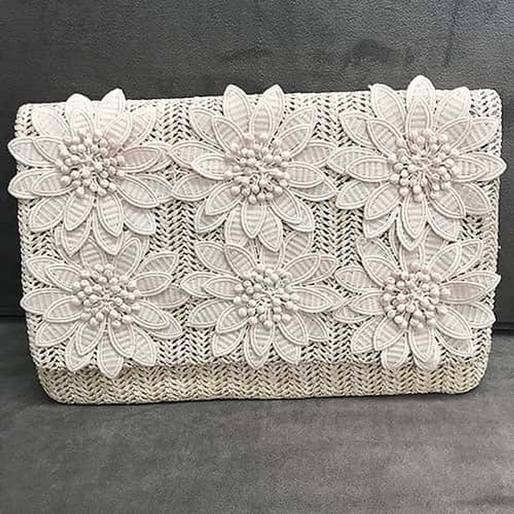 Sondra Roberts Woven Raffia Fold-over Clutch with Flowers