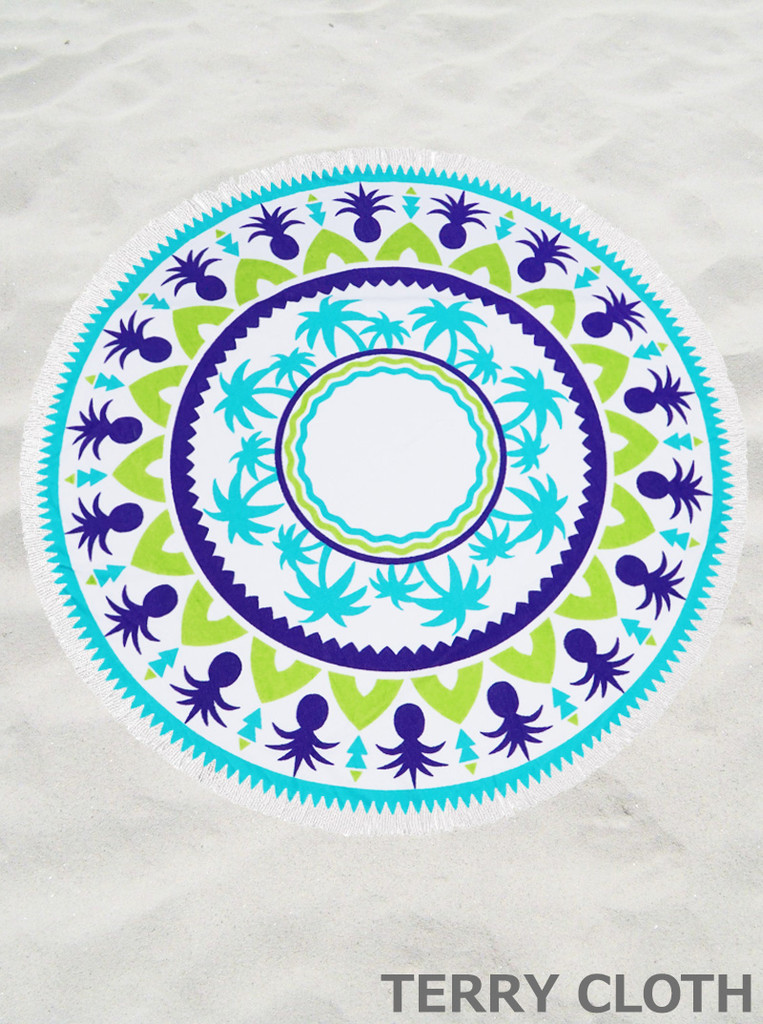 Pineapple and Palm Trees  Round Beach Towel