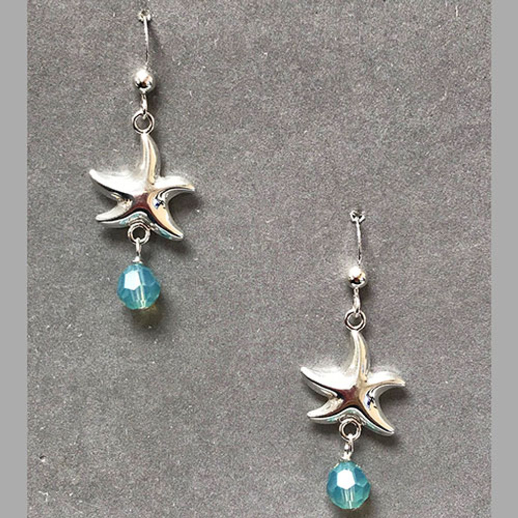 Star Fish Earring with Pacific Opal