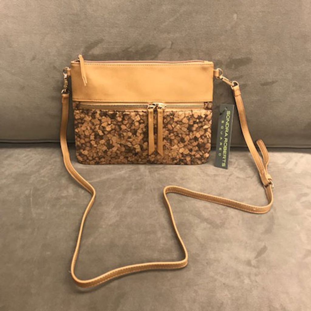 Sondra Roberts Vegan Tan & Cork Crossbody/Clutch