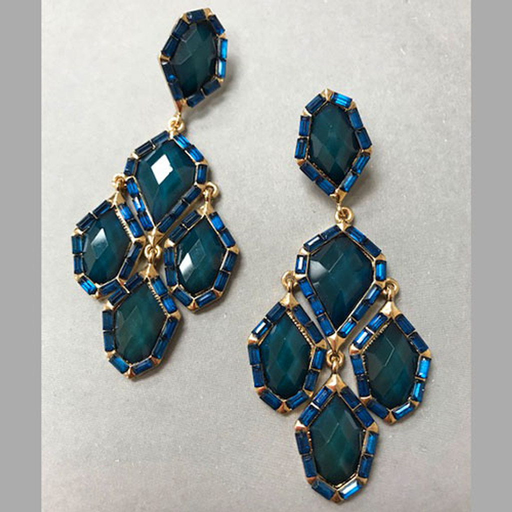 Color Saturated Teal/ Blue Gem Dangle Earrings