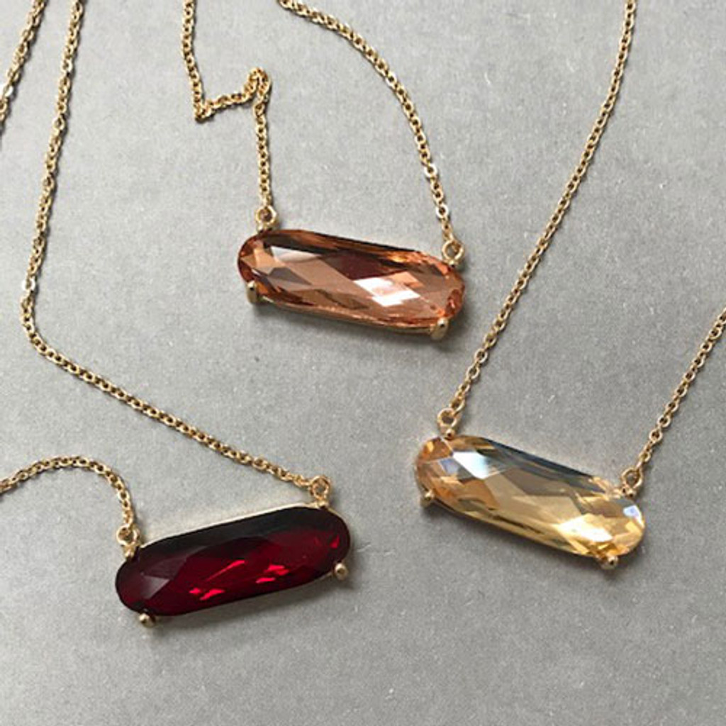 Lola's Faceted Oval Crystal Necklace