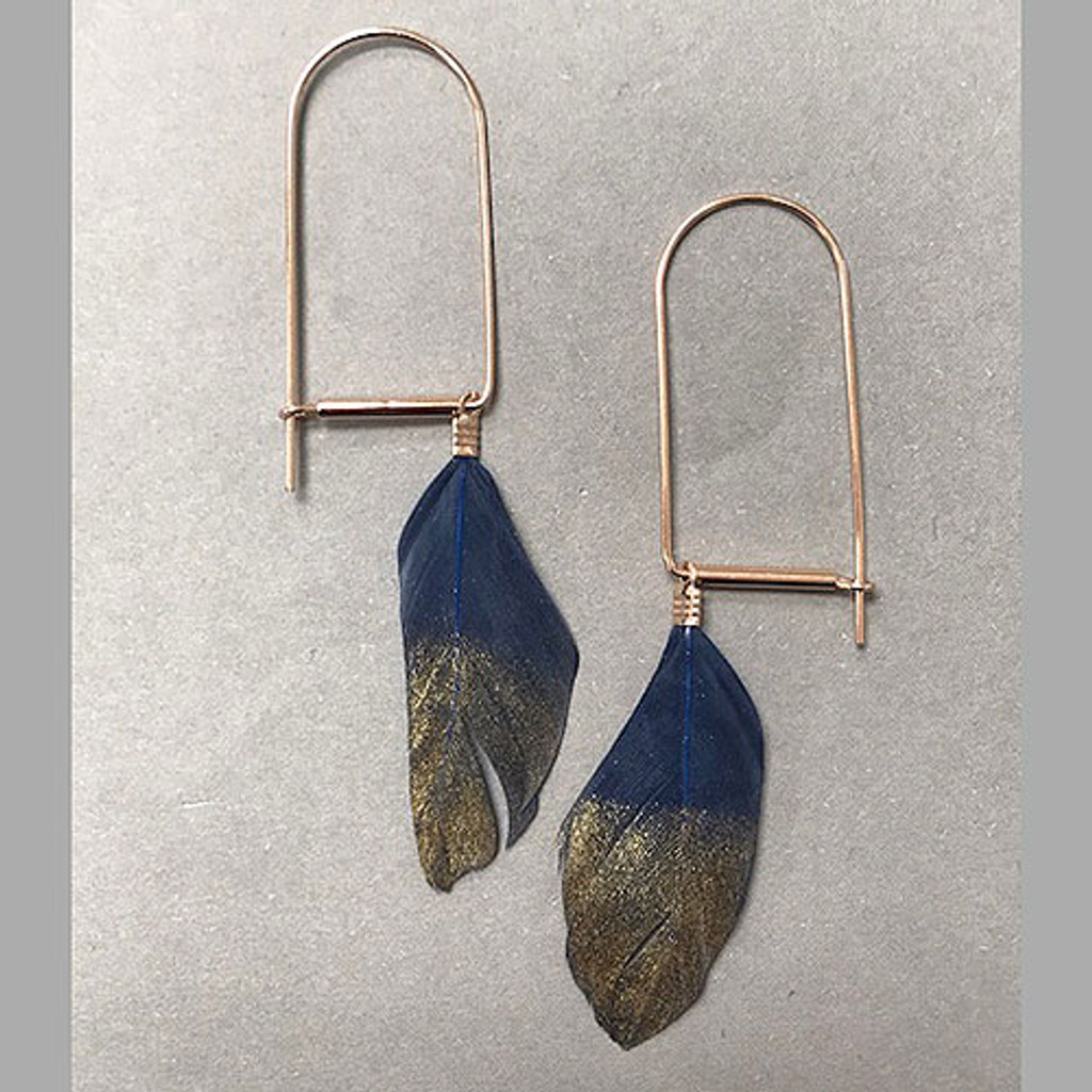 Modern Gold Dipped Feather Earring