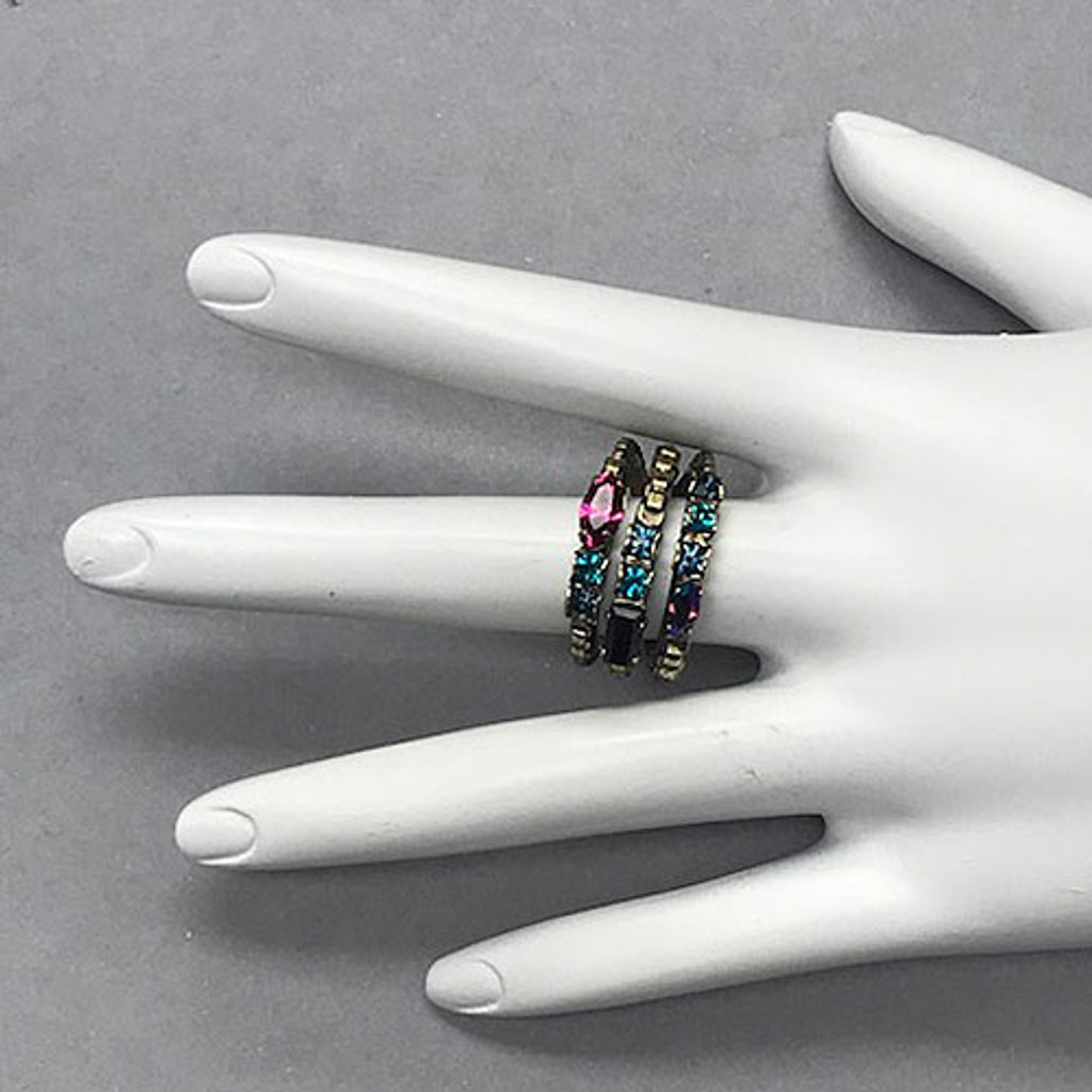 Triple Stacked Multi Bright Crystal Ring