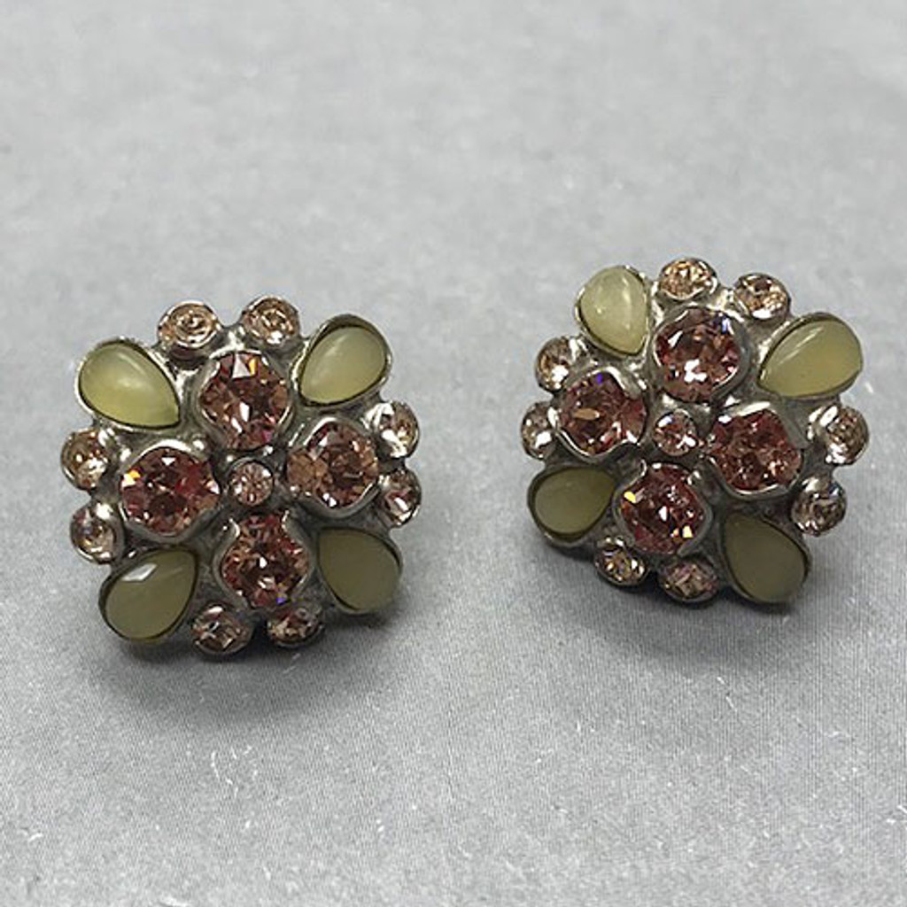 Sorrelli Muted Celadon Green and Pink Crystal Stud